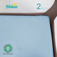 "Waterproof Pack N Play Fitted Playard Sheets 100% Organic Cotton 2 Pack 39""x27"""