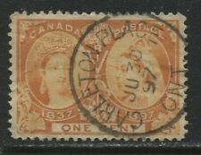 1897 Canada QV 1 cent Jubilee with Carleton Place ON CDS