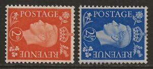 GB 1938/1940 KGVI WATERMARK SIDEWAYS set of 2 VF mint MVLH SG#465a/466a cv£150