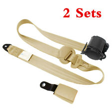 2 Set Adjustable Seat Belt Car Truck  Belt Universal 3 Point Safety Travel Beige