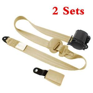 2 Set Adjustable Seat Belt Car Truck  Belt Universal 3 Point Safety Travel Beige