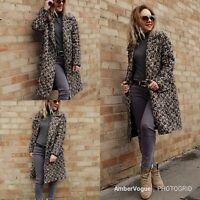 Zara Brwon Boucle Tweed Wool Midi Coat SIZE S