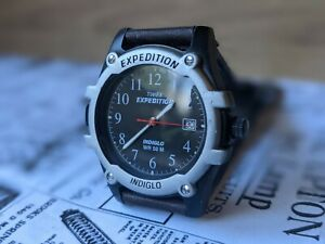 Gents Timex Expedition Indiglo Date Function Lume Black Dial Watch - Working