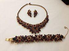 vintage Juliana Red Garnet Rhinestone Necklace Bracelet Earrings