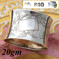 "Antique Continental .800 Silver 2"" Napkin Ring, Floral & Foliate Decoration"