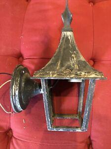 Vintage Arts & Crafts Light Fixture Cast Gothic Metal Sconce Porch Tudor NoGlass