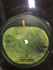 THE BEATLES GEORGE HARRISON You/World of Stone RARE apple INDIA SINGLE 45 VG+