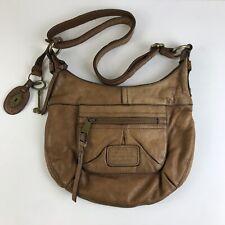 VTG Fossil Long Live Vintage Genuine Brown Leather Satchel Purse Adjustable NICE