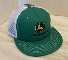 John Deere Green & White Mesh Hat / Flat Brim w/ Snapback & Black Logo