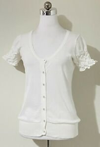 Promiscuos Sz 12 Off White Knit Top Cardigan Button-Up Short Sleeve 100% Cotton