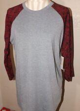 NEW ladies LULAROE gray, red & black Randy shirt  Size large