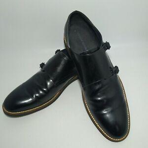 BANANA REPUBLIC Double Monk Strap Black Leather Shoes Men Size 10.5M