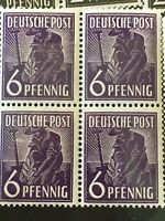 Germany Stamps Allied Occupation 1948 Mi 167MNH Agriculture 6PF Block Of 4