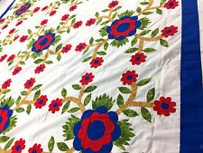 Graphic Rose of Sharon Floral Hand Applique QUILT TOP