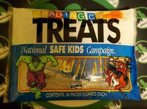 MARVEL TRADING CARD TREATS National Safe Kids Campaign 24 Packs of 3 Cards 1991
