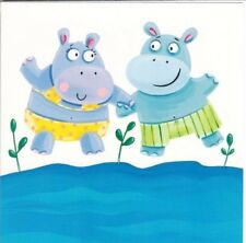 Phoenix Trading - Happy Hippos - One Brand New Greetings Card