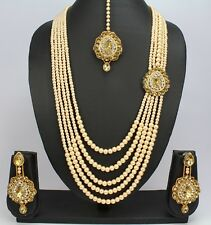 5 Strand Gold Plated pearl beautiful India wedding necklace set earring tikka