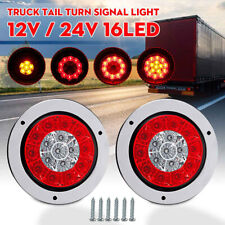 "2x 4"" Round 16 LED Truck Trailer Stop Turn Tail Brake Lights Stainless Rings Red"