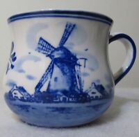 Delft Blue Hand Painted Holland Windmill Flowers Cup Mug DAIC Coffee Tea Dutch