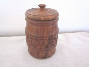 Vintage Hand Carved Wooden Canister Storage Box Container with Lid India