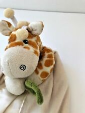 Baby Aspen Safari Infant security blanket lovey cream satin giraffe holding leaf