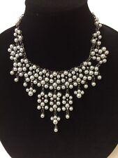 NWT Natasha Faux Gray Pearls Bib Ladies Necklace