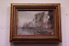 Quadro dipinto olio su tela paesaggio mare barca XX sec painting oil on canvas