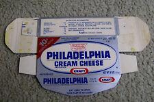 RARE 1977 PHILADELPHIA CREAM CHEESE box Kraft VINTAGE FOOD PACKAGING dairy RETRO