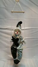 intage Clown on a Swing Circus Marionette Puppet with Porcelain Head Black