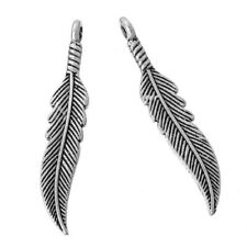 5 x Tibetan Silver Feather Pendant Charms 37mm