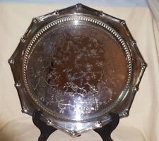 ORNATE SILVER PLATE OCTAGONAL TRAY 14.5""