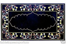 4'x2' Marble Decorative Marquetry Dining Table Top Rare Gems Mosaic Inlay Decor