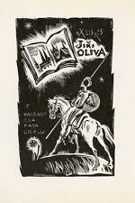 Don Quixote, Ex libris Bookplate by Eugeny Golyahovsky, Russia