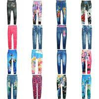 Girls Cartoon Slim Skinny Leggings Children Stretchy Pants Pencil Trousers 4-10Y