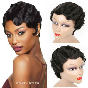 Finger Wave Wig 100% Human Hair Pixie Cut Wigs Remy Peruvian Short Bob Wigs