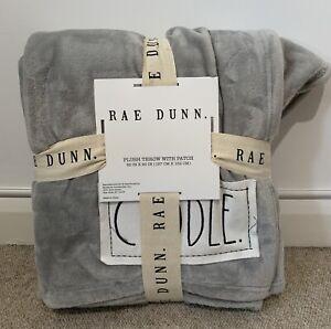 BNWT RAE DUNN Throw GRAY Plush  Blanket with 'CUDDLE' Homesense TK MAXX