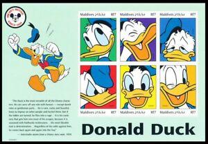 Maldives 1999 MNH SS, Disney, Cartoons, Donald Duck