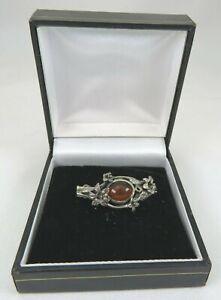 Vintage Sterling Silver and Amber Floral Brooch