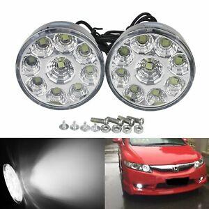 2x 9 LED Sidelight Front Fog Driving Daytime Running Light Lamps Bulb DRL White