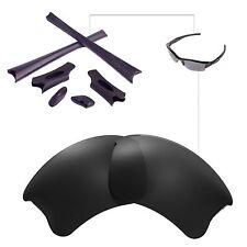 New Walleva Polarized Black Lenses And Rubber Kit For Oakley Flak Jacket XLJ