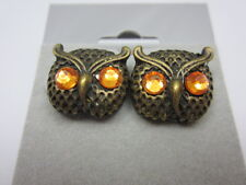 Gold Crystal Owl Earrings