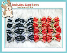 ~BabyRou~ 16 Dog Grooming Ribbon Pet Bows (Royal Bling Bling)