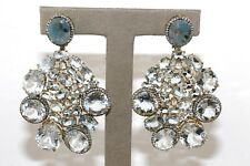 Etho Maria Round Aquamarine & Diamond Cluster Earrings 18K Yellow Gold 85.96Ct