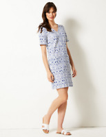 NEW RRP £22.50 Ex Marks and Spencer Blue Linen Rich Printed Shift Dress
