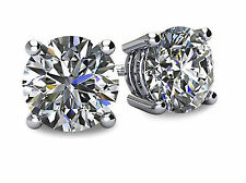 NEW 1/2 ct tw 14K White Gold AAA D-Flawless CZ Stud Earrings SPARKLING