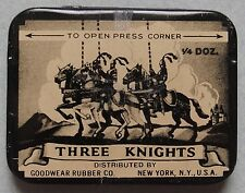 "VERY HTF PROPHYLACTIC THREE KNIGHTS ADVERTISING ""RUBBER"" TIN FANTASTIC GRAPHIC"