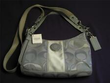 COACH AUTHENTIC SIGNATURE SIS OUTLINE C SATEEN DEMI BAG SV/GREY/GREY F-19435 NWT