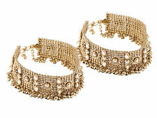 Chik Necklace Bridal Party Dance Eid 2pcs Gold Oxidize Kundan Broad Anklet Payal