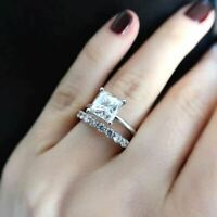2.50 Ct Princess White Diamond Bridal Set Engagement Ring 14K White Gold Over