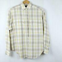 Vintage 90s Lizsport Button Front Shirt Pockets Oversize Plaid Pastel Yellow Tan